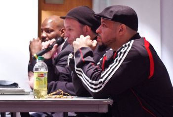 From left to right: panelists Jelani Cobb (Professor Africana Studies/History); Jorge FabelPabon (Vice President of the Original Rock Steady Crew) and Mustafa Davis (Director, DeenTight)